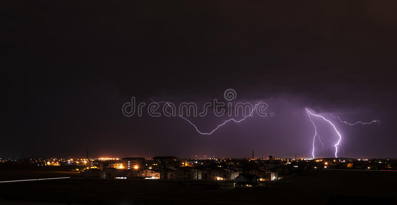 Download Lightning over small town stock photo. Image of thundershower - 31443324