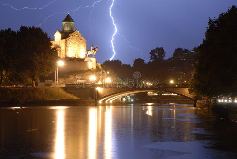 Lightning over Tblisi stock photos