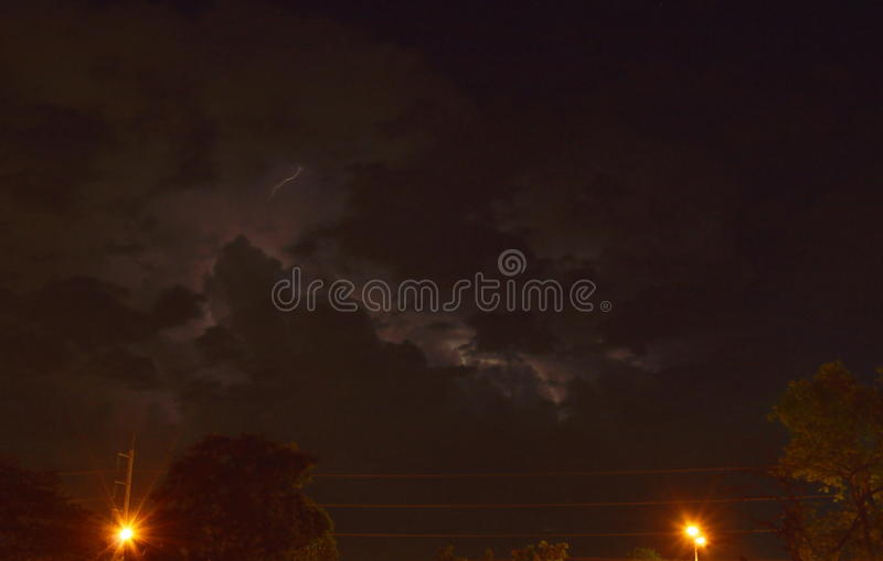 Download Lightning With Rain Cloud In Night And Lamp Post On Street Stock  Photo   Image
