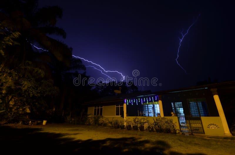Lightning on rainy night royalty free stock image