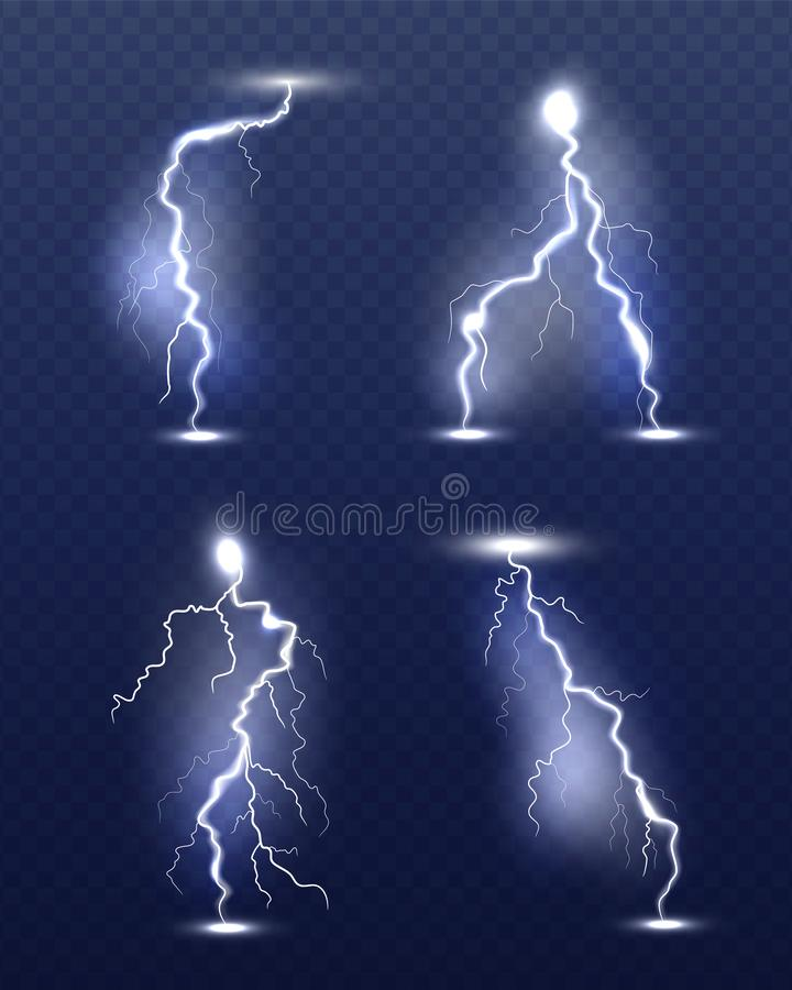 Lightning realistic. Energy glow special weather storm effects power electricity strike vector 3d symbols royalty free illustration