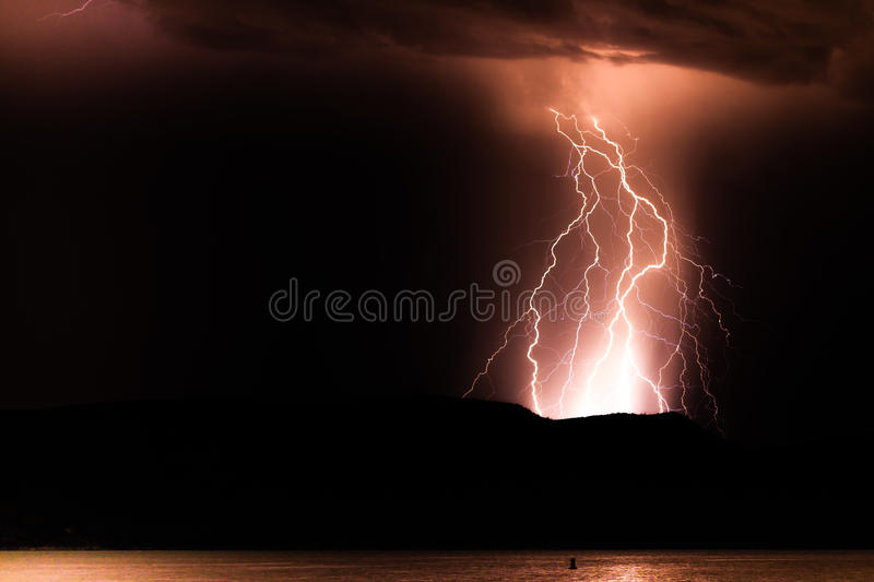 Lightning Reflections stock photo