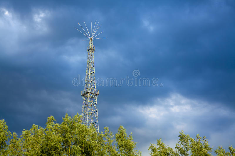 Lightning rod with cloud stock photography