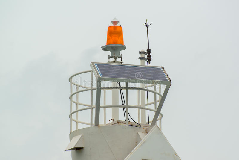 Download Lightning Rod And Solarcell On The Top Of Lighthouse At The Marina Stock Image - Image: 32815019