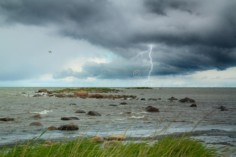 Download Lightning At Sea. Summer Storm Coming Ashore. Stock Image   Image  Of Cloud