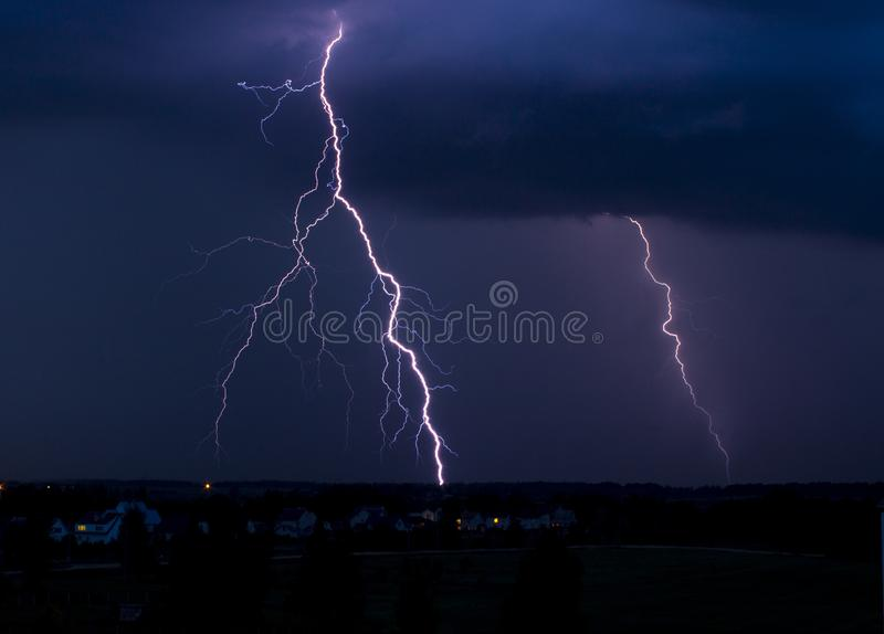 Lightning in the sky during a storm royalty free stock photography