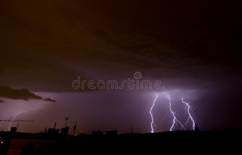 Lightning on the sky during summer storm. In Czech Republic stock image
