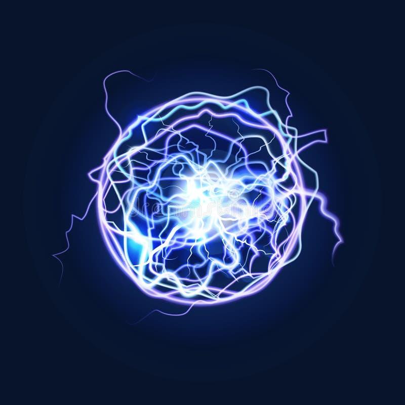 Lightning Sphere Powerful Electrical Energy Discharge. Vector. Lightning Sphere Powerful Electrical Energy Discharge on a Dark. Vector illustration of Nerve vector illustration