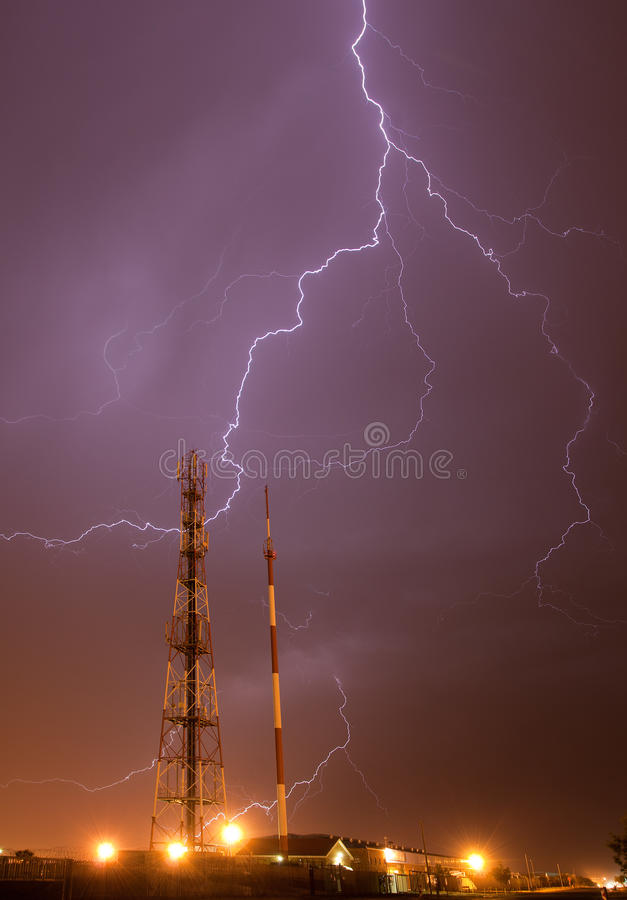 Lightning storm. Over radio mast royalty free stock photos