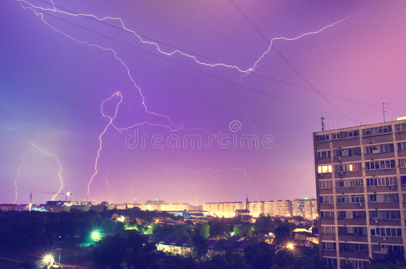 Lightning storm. Photo of a lightning storm in the city night stock images