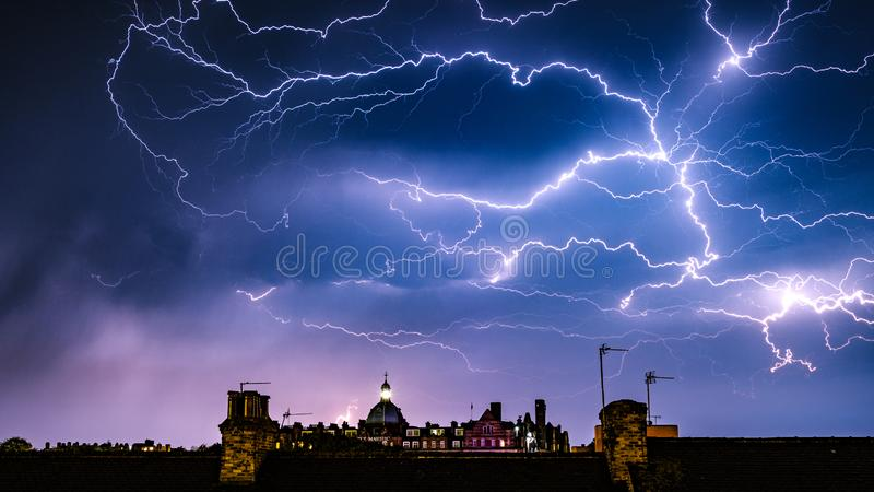 Lightning Storm over the Majestic Hotel, Harrogate, North Yorkshire. A lightning Storm breaks over the Majestic Hotel in Harrogate, North Yorkshire royalty free stock photos