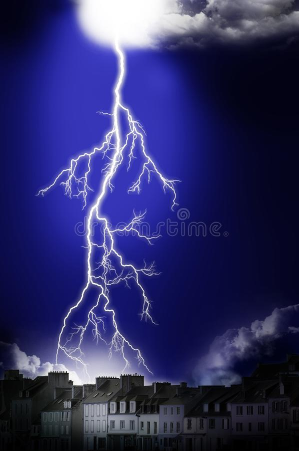 Lightning Storm in the dark. Fantastic Lightning Storm in the dark royalty free stock photos