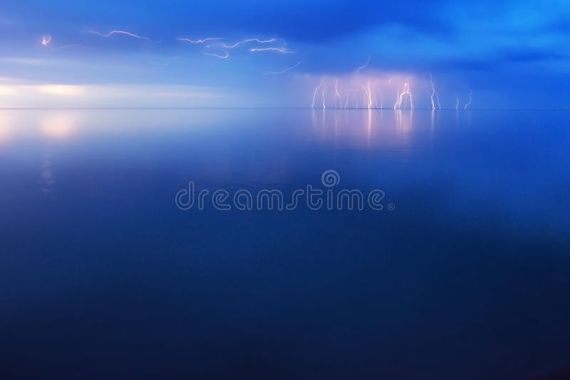 Lightning Storm. Over big lake Balkhash, Kazakhstan royalty free stock image