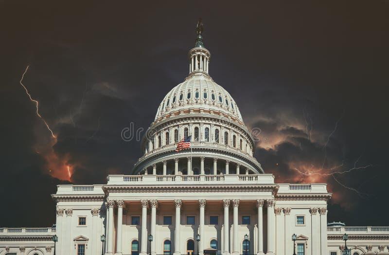 Lightning storm over Capitol Building on with multiple lightning strikes Washington DC, USA royalty free stock photos