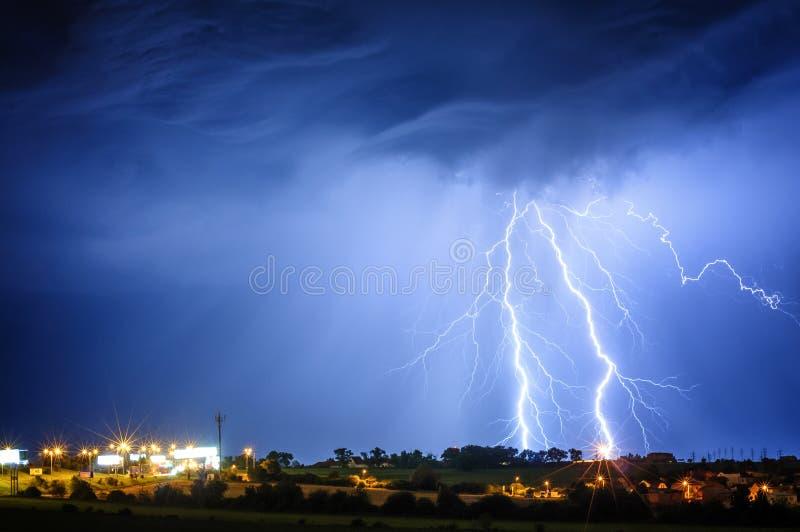 Lightning storm over Prague, Czech republic stock images
