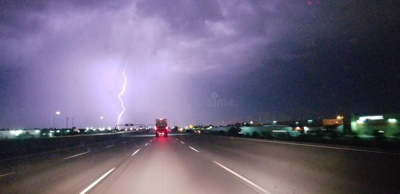 Lightning storm over the city royalty free stock photos