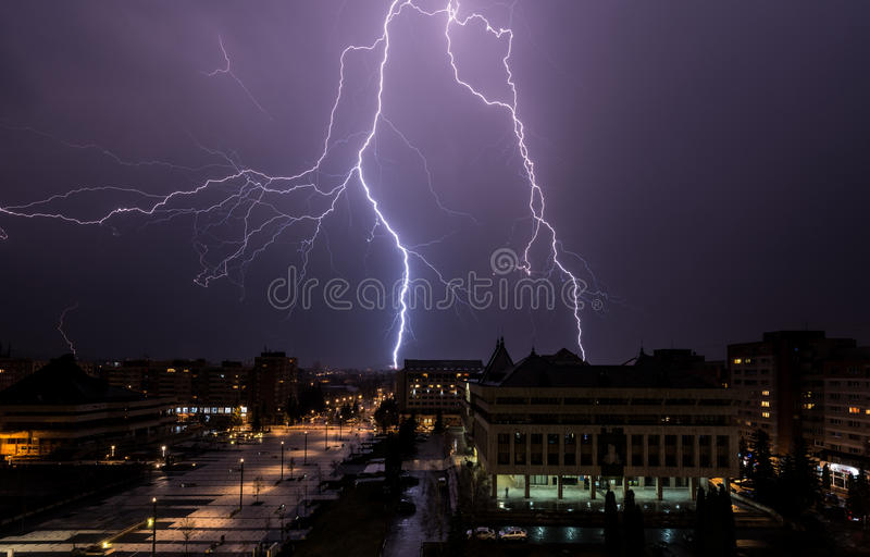 Lightning storm over the city. stock photo