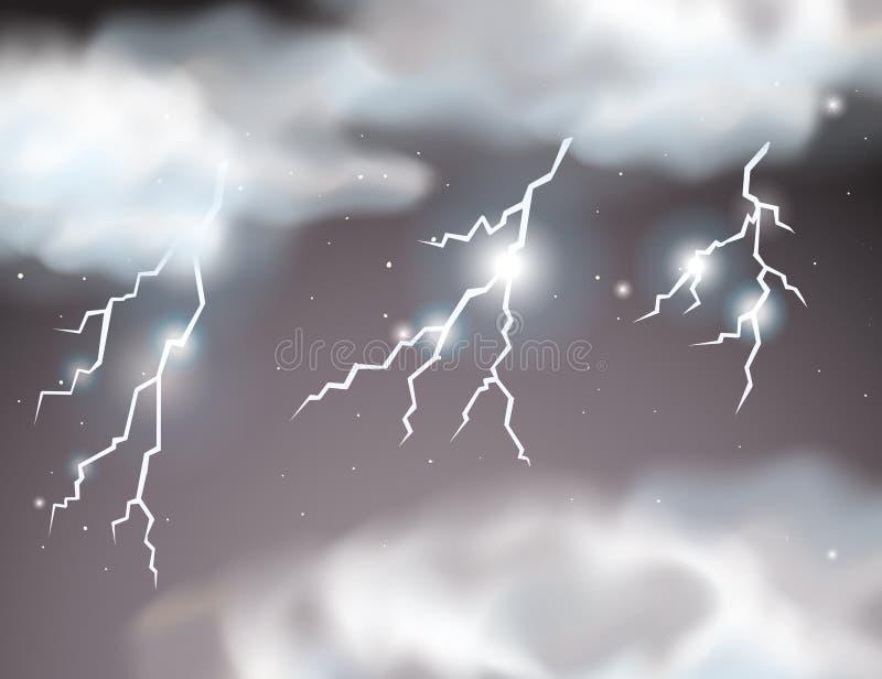 Lightning storm scene background stock illustration