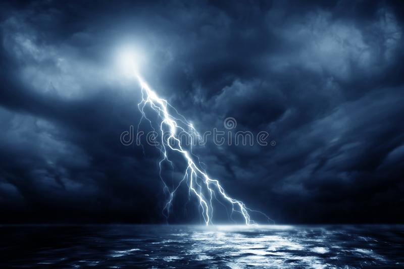 Lightning storm sea near. Lightning storm over Black sea near royalty free stock photo