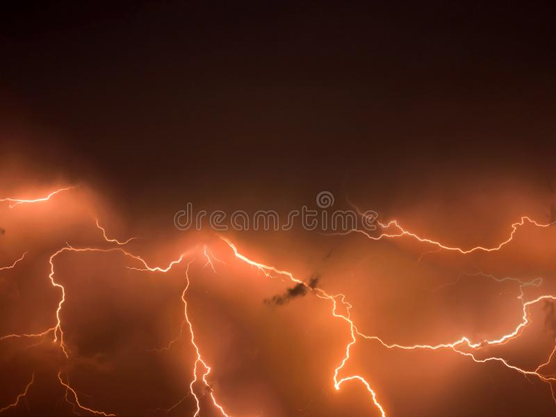 Lightning storm,  thunderstorm flash over the night sky. stormy weather stock images