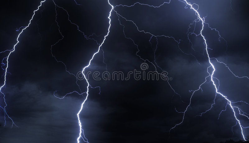 Lightning in stormy sky royalty free stock photography