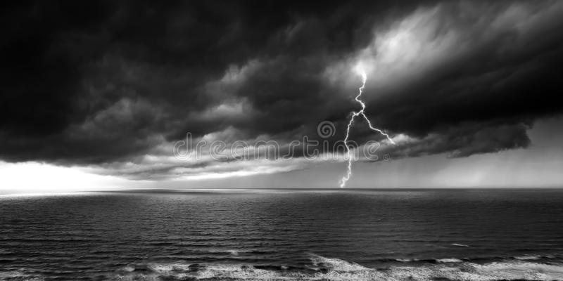 Lightning & Stormy Weather - Panoramic Over Sea.