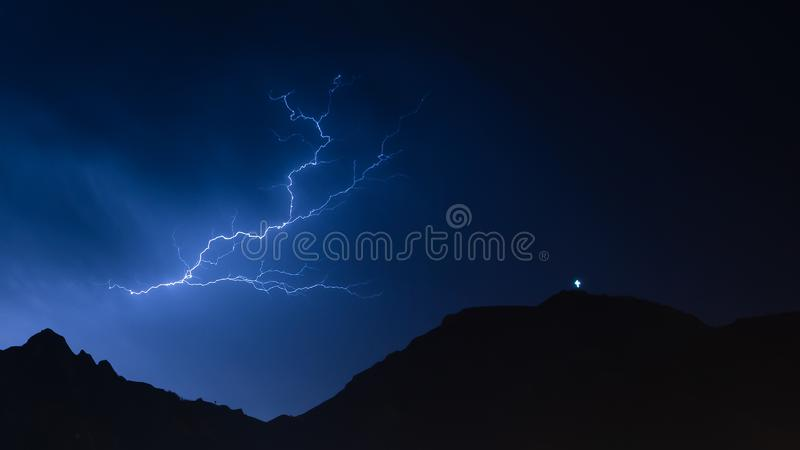 Lightning strike on the Carpathian mountains in Romania stock photography