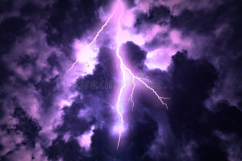 Lightning strike on the dark cloudy sky. Lightning strike on the cloudy dark sky stock image