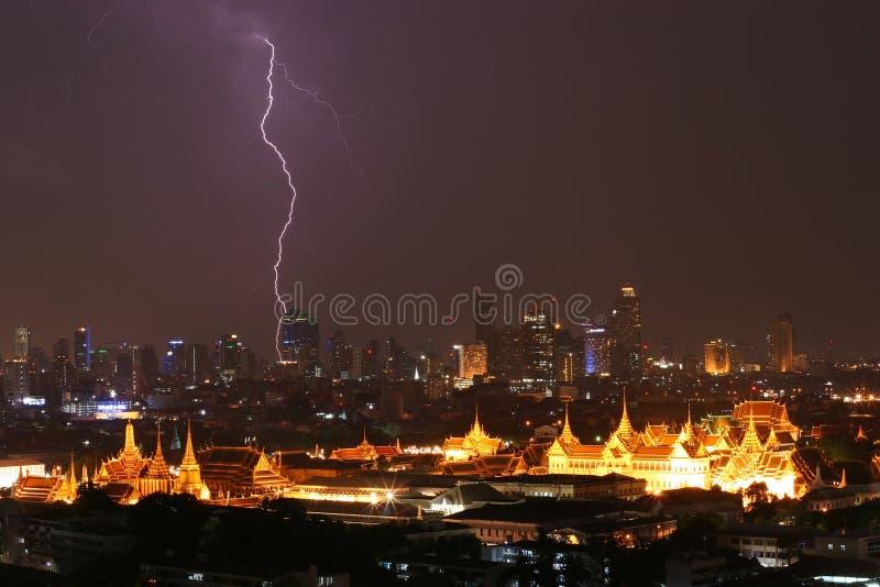 Lightning strike over Grand Palace Thailand stock photo