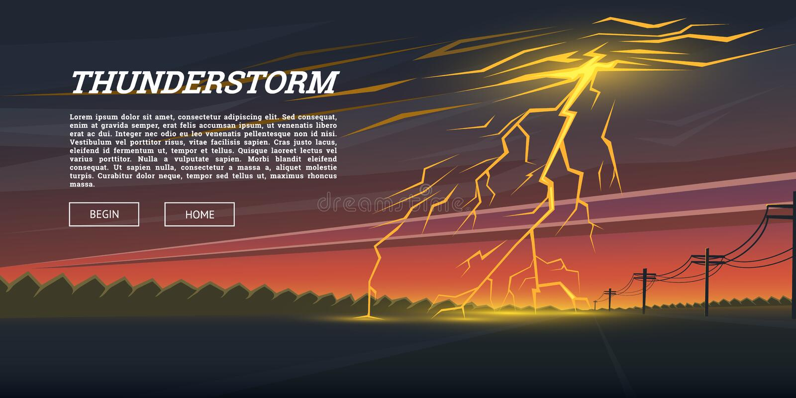 Lightning Strike and Rain. Thunderstorm day in the valley Background. thunder bolt, sparkle flash glow effect. Night vector illustration