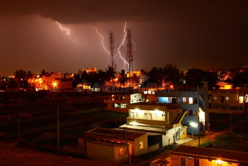 Lightning Strike On Telecommunications Tower Stock Images