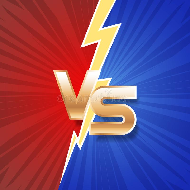 Lightning strike vs letter energy conflict game versus screen action fight competition background vector graphic vector illustration