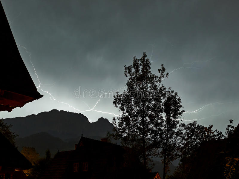 Lightning Strikes. Multiple lightning strikes in mountains of Tatra, Poland royalty free stock photos