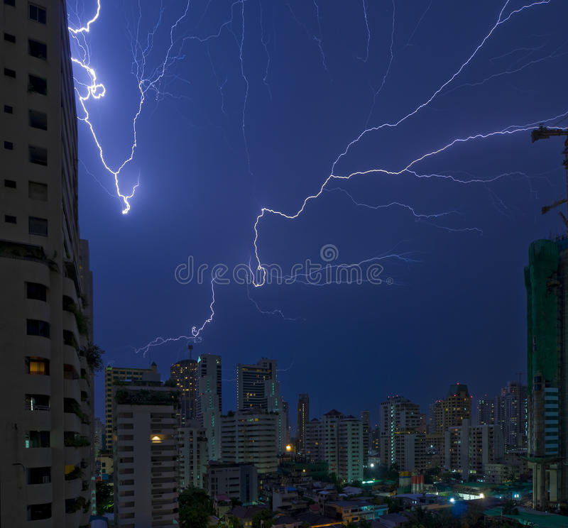 Lightning strikes in bangkok. Multiple lightning strikes in bangkok, the capital city of thailand - real, not photoshopped royalty free stock photos