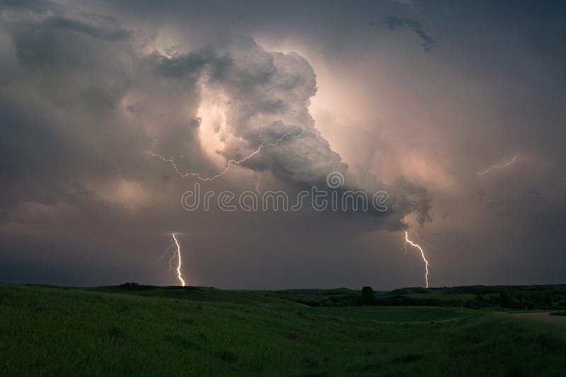 Lightning strikes from a Dakota thunderstorm. This storm near the border of North- and South- Dakota was electrical rather active with many CG`s (Cloud stock image