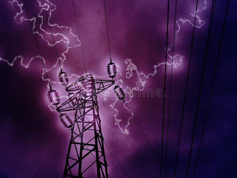 Lightning strikes and the high voltage tower stock photos