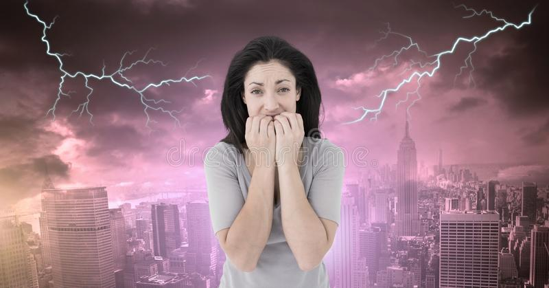 Lightning strikes and scared afraid woman. Digital composite of Lightning strikes and scared afraid woman royalty free stock image