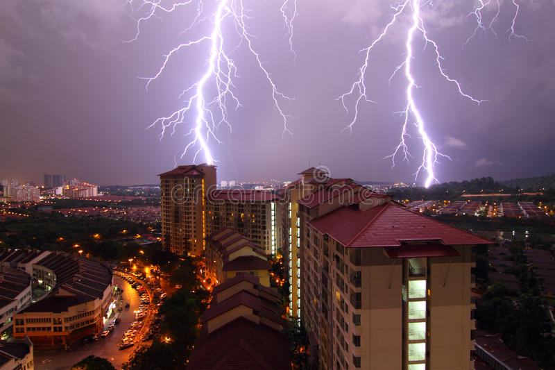 Download Lightning Strikes stock image. Image of thunderbolt, buildings - 32527389