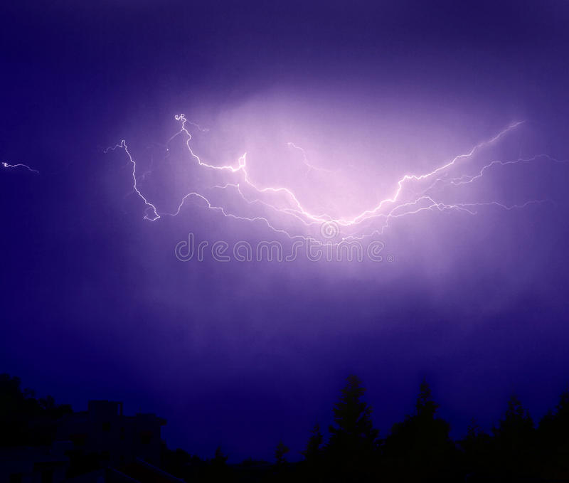 Lightning and thunder stock photos