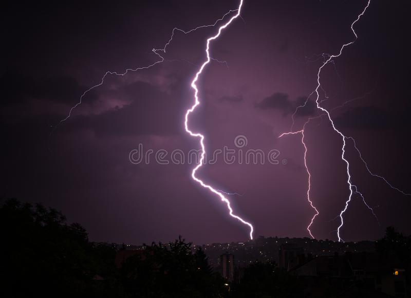 Lightning and Thunder over the City royalty free stock photography