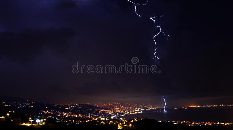 Lightning, thunder storm at night sky royalty free stock photos