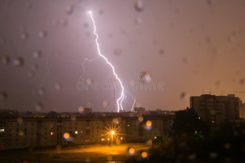 Lightning thunderbolt hitting royalty free stock image
