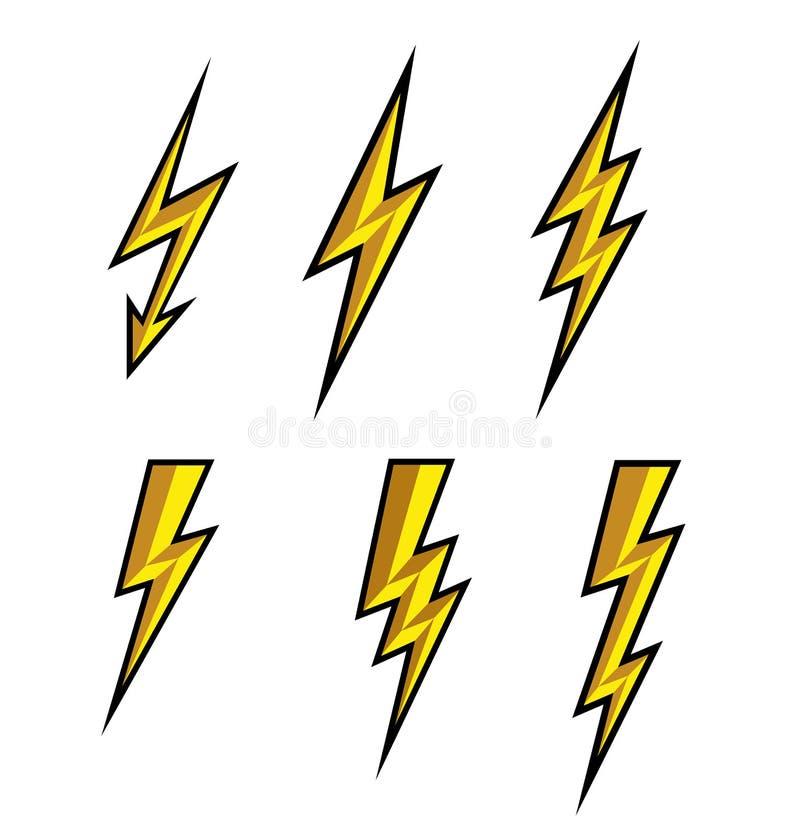 Lightning thunderbolt icon vector. Flash symbol illustration. Lighting Flash Icons Set. Flat Style on white background and black o. Utline. Silhouette and royalty free illustration