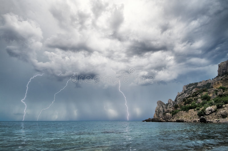 Download Lightning And Thunderstorm Above Sea Stock Photos - Image: 5917933