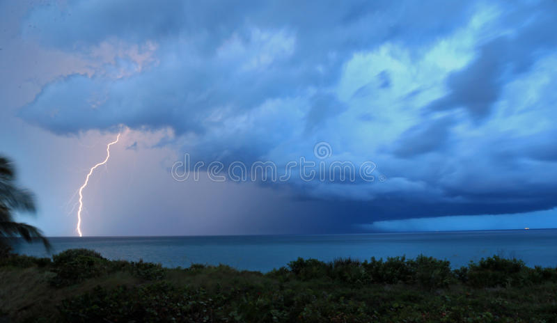 Lightning from a thunderstorm royalty free stock photography