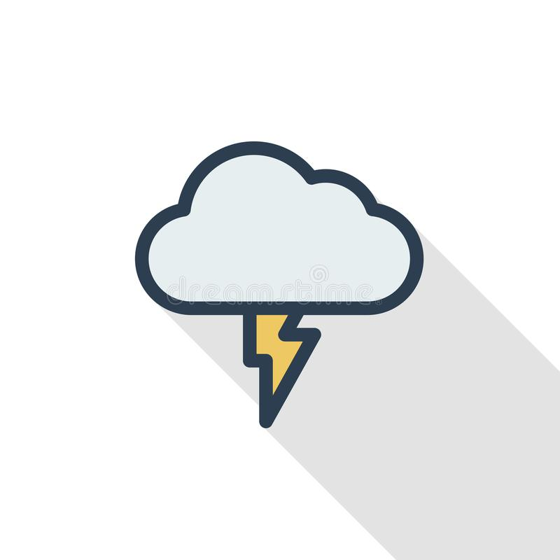 Lightning Thunderstorm Cloud Weather Thin Line Flat Color Icon