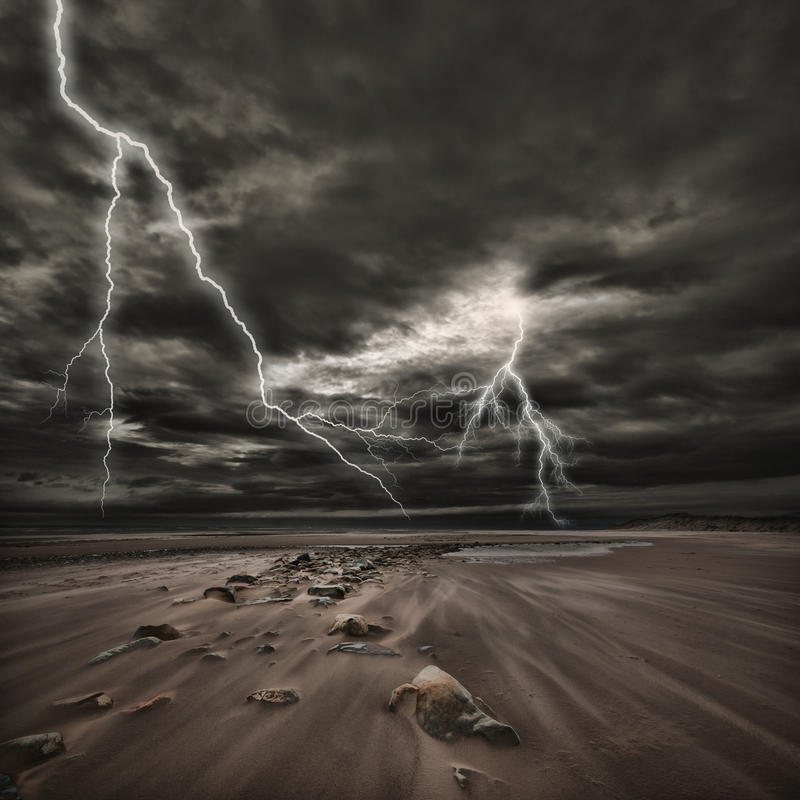Lightning thunderstorm at sea stock images