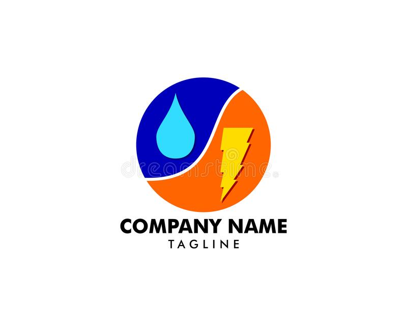 Lightning and water drop vector logo template concept illustration vector illustration