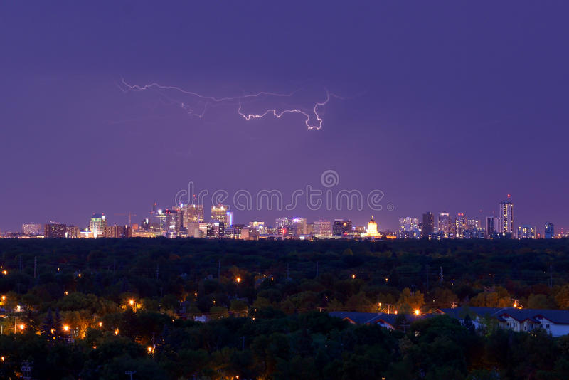 Lightning in Winnipeg stock image