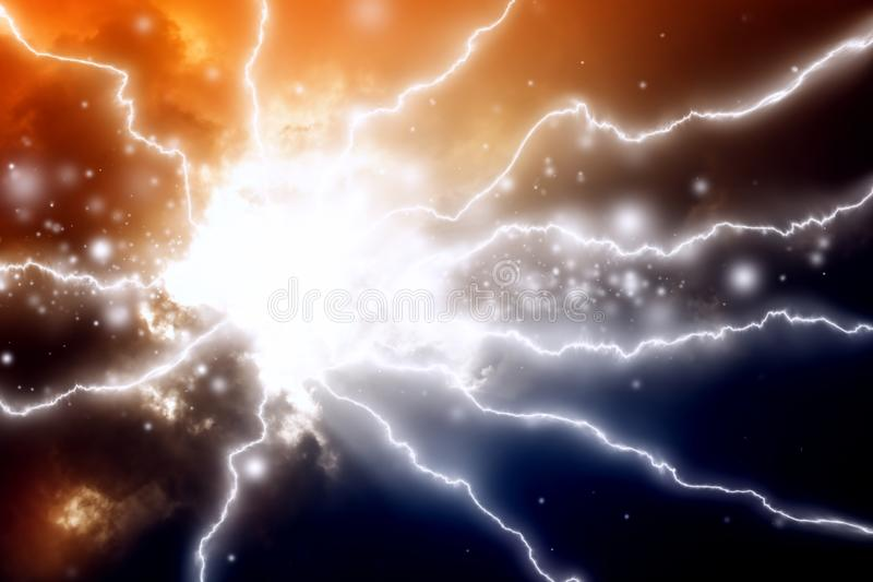 Lightnings in dark sky. Mysterious background - lightnings in dark sky vector illustration